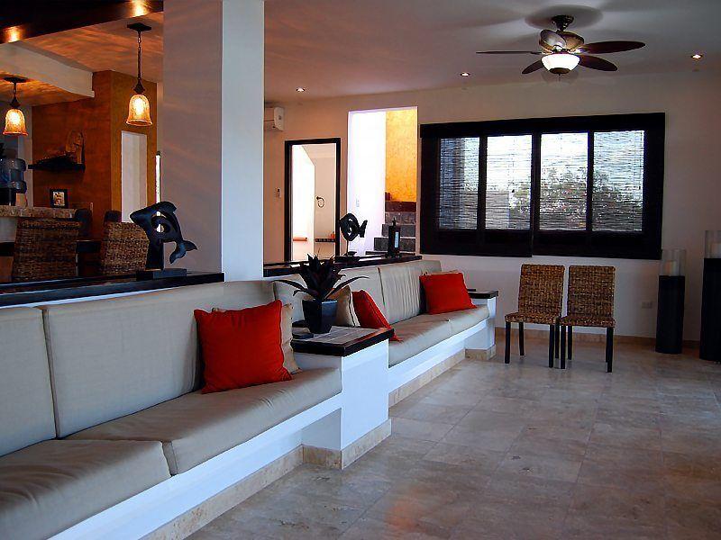 Main Villa Kitchen Bar and Dining Room - Sunken Living Room - Isla Mujeres Vacation Rental