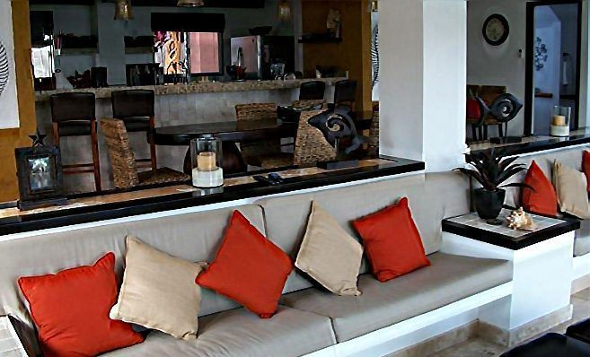 Main Villa Kitchen Bar and Dining Room - Sunken Living Room On Right - Isla Mujeres Vacation Rental